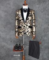 S 4XL! Для мужчин с узором костюм Сценические костюмы Тонкий Для мужчин торжественное платье жениха Свадебные платье праздничное пальто певц