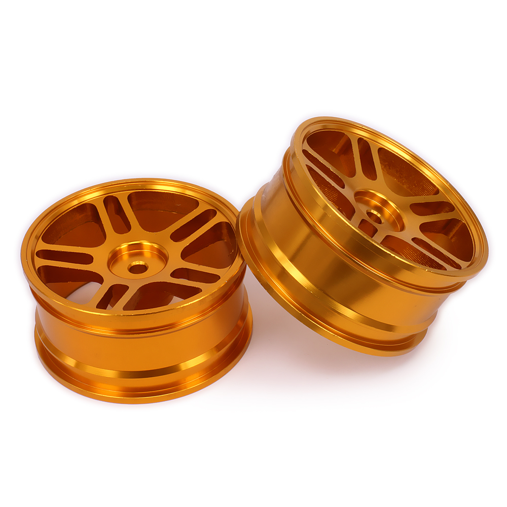 2PCS Aluminum Five Pointed Star Wheel Rim w/o Tire tyre For Rc 1/10 On-Road Racing Crawler Hop-Up Parts HSP Axial Wltoys Himoto universal replacement tire w wheel rim hub for 1 10 on road model cars black brown 4pcs