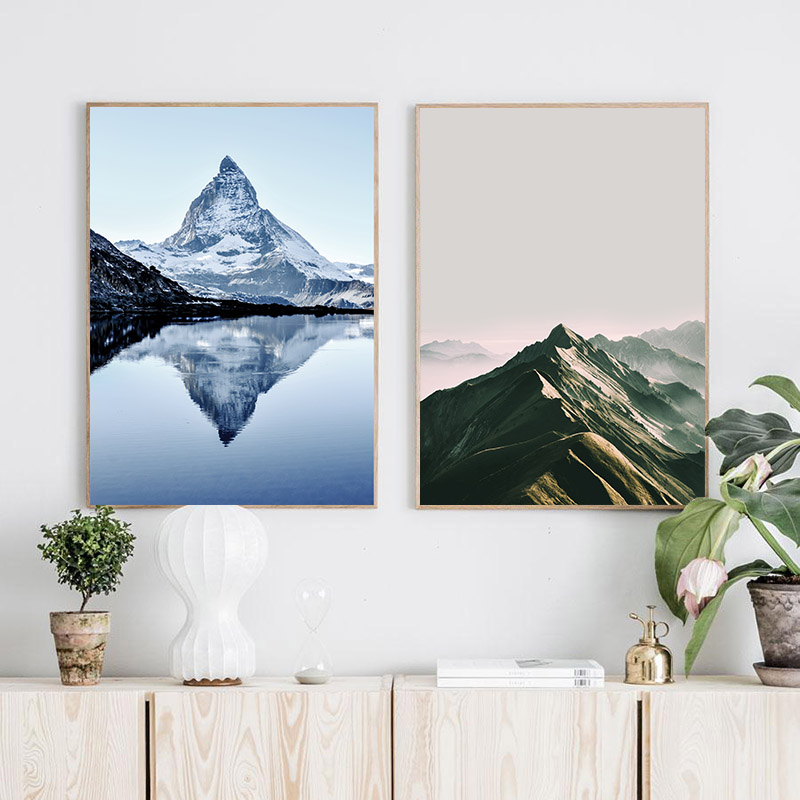 Mountain Succulent Plants Wall Art Scandinavian Canvas Painting Landscape Nordic Posters Living Room Wall Pictures Unframed in Painting Calligraphy from Home Garden