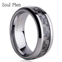 """8 מ""""מ אפור סיבי פחמן טונגסטן קרביד טבעות Comfort Fit טבעת הנישואין תכשיטי אופנה גברים מותג גודל 7-13 Tu008R"""
