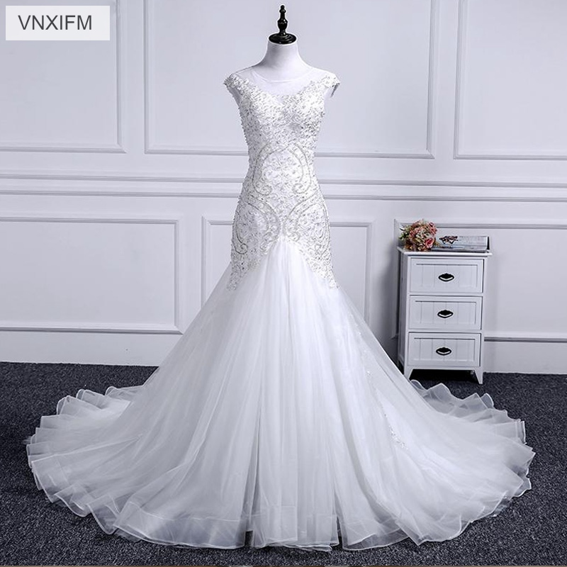 VNXIFM 2019 Luxury Beading Crystals Mermaid Wedding Dresses Sexy Sleeveless Appliques Ruched Long Bride Gowns