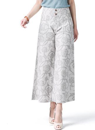 На лето и весну для женщин цветочный роспись широкие брюки свободные льняные мотобрюки, повседневное Высокая талия с цветочным Принто - Цвет: beige