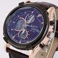 Hombres Reloj Deportivo Correa de Cuero Relojes de Pulsera Analógico Digital Dual Time Zones Cronógrafo Alarma Calendario Relojes de pulsera de Cuarzo