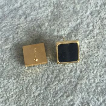 Модные украшения никогда не исчезает 18KGF золото розовое золото серебро заполнены 316L Нержавеющаясталь сплошной черный Серьги-гвоздики для ...
