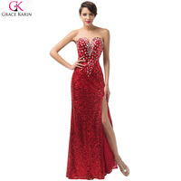 Real Photos Luxury Sequin Red Mermaid Evening Dress Grace Karin 2016 Formal Dresses Sexy Split Long