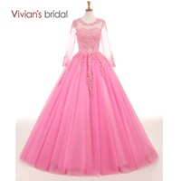Pink Long Ball Gown Quinceanera Dresses Sweet 16 For 15 Years Long Sleeves Appliques Lace Quinceanera