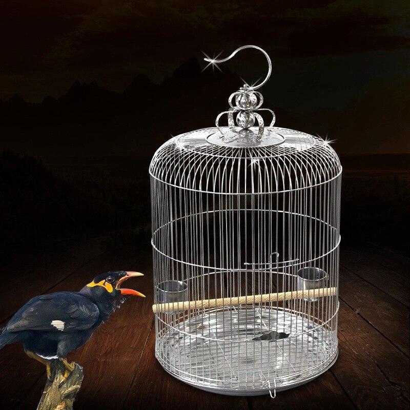 Fournitures d'oiseaux en acier inoxydable cage à oiseaux ronde Starling perroquet muguet cage à oiseaux ZP01031021
