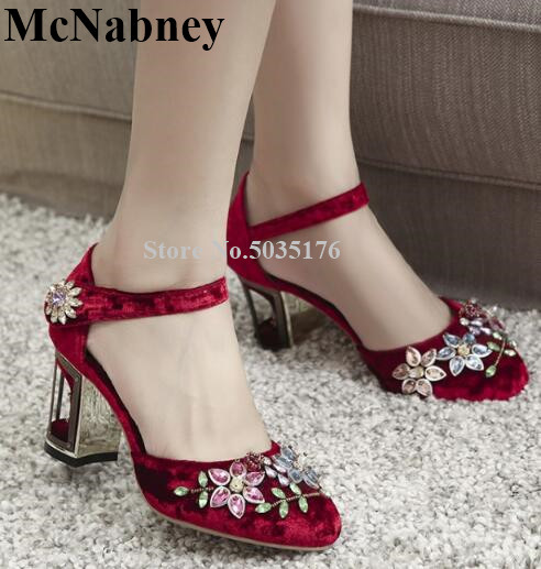 Spring And Summer New Buckle Rhinestone Flower Bead Round Toe Women Sandals Thick High Heel Fashion Chinese Style Womens ShoesSpring And Summer New Buckle Rhinestone Flower Bead Round Toe Women Sandals Thick High Heel Fashion Chinese Style Womens Shoes