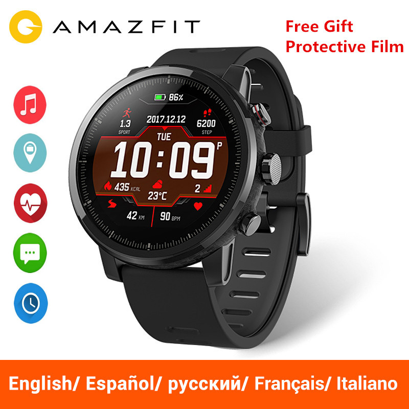 Versão Global Huami Amazônia Stratos 2 Relógio Inteligente Esporte Originais GPS 5ATM 2.5D GPS Smartwatch À Prova D' Água Piscina de Água