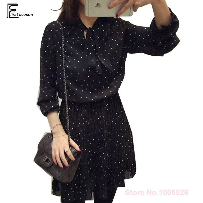 US $13.76 14% OFF|Plus Size Dresses New Arrival 2019 Hot Sale Korean Style  Women Elegant Slim Waist Casual Loose Polka Dot Black Chiffon Dress-in ...