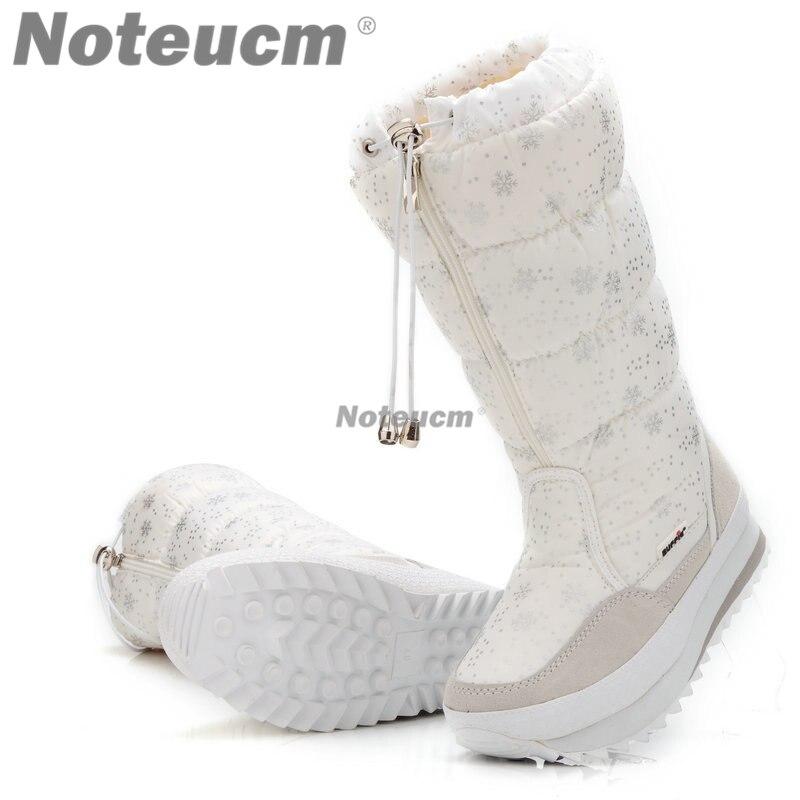 2018 mujeres invierno blanco señora caliente impermeable largo alto zapatos barco calzado botas de nieve con felpa shose para mujeres edredón