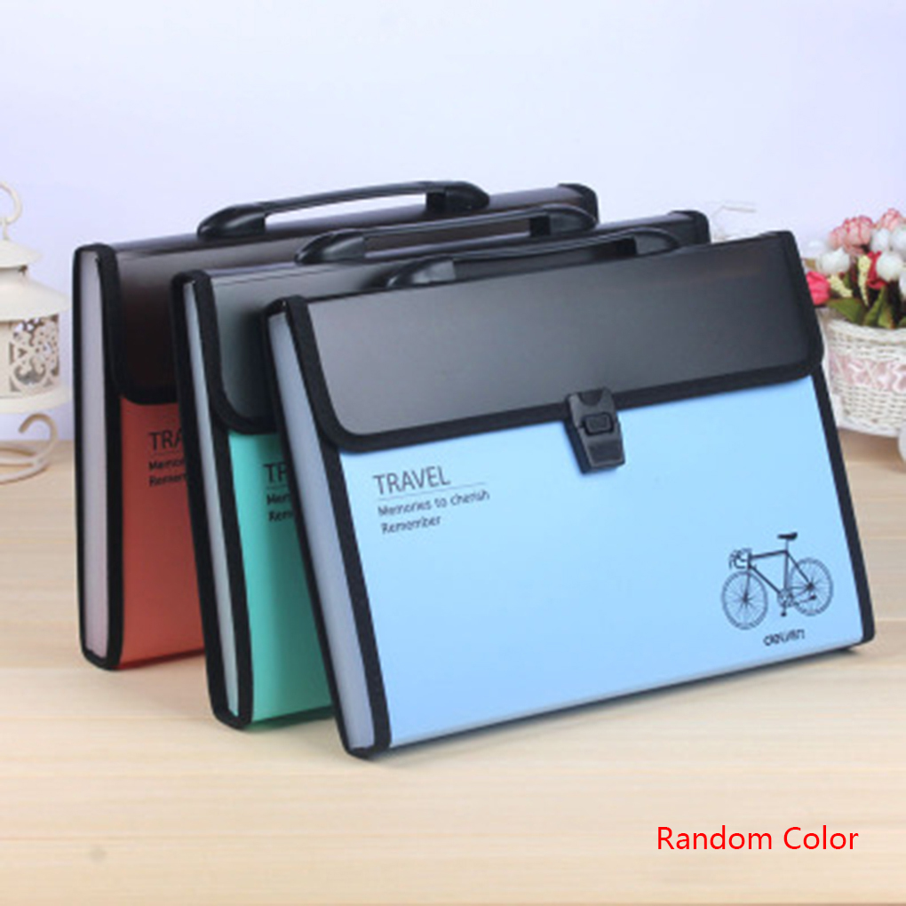 Plastic Expanding File Briefcase Document Folder A4 Storage Bag Organizer Filing Rectangle Bag Office School Supplies