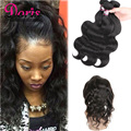 8A Peruvian Virgin Hair Body Wave With Closure 3 Bundles With Closure 360 Lace Frontal With Bundle Best Human Hair With Closure