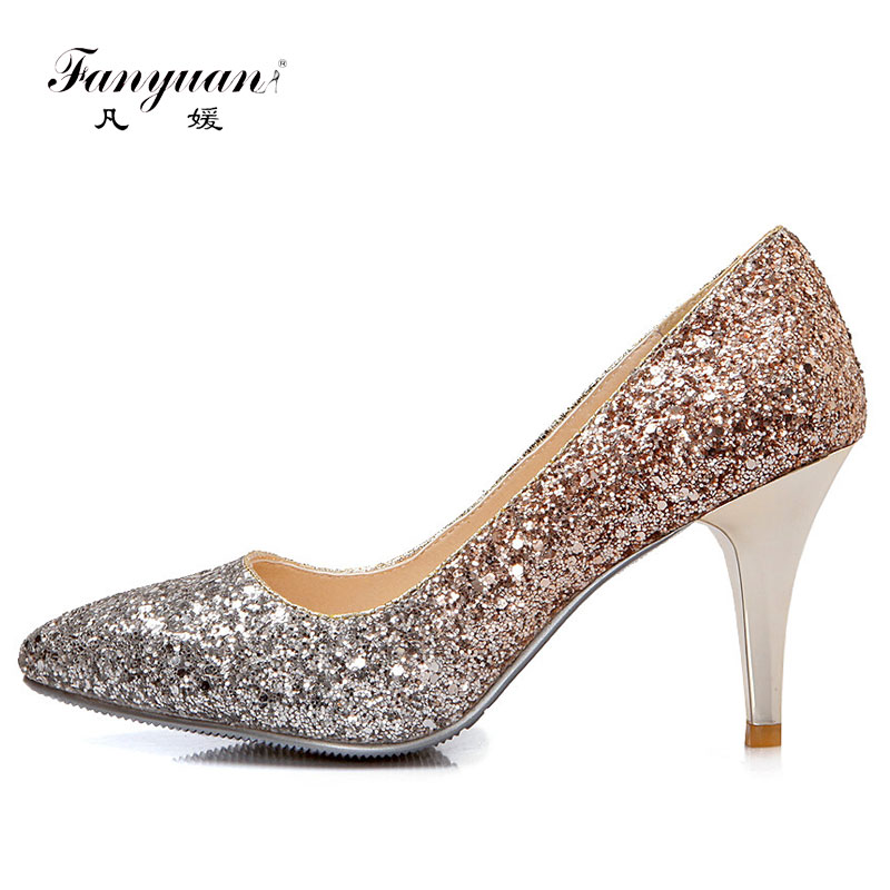 Fanyuan 2018 High Heels Women Pumps Luxury Glitter High Heel Lady Shoes  Woman Pointed Toe Sexy Wedding Party Shoes f3c09e4255c5