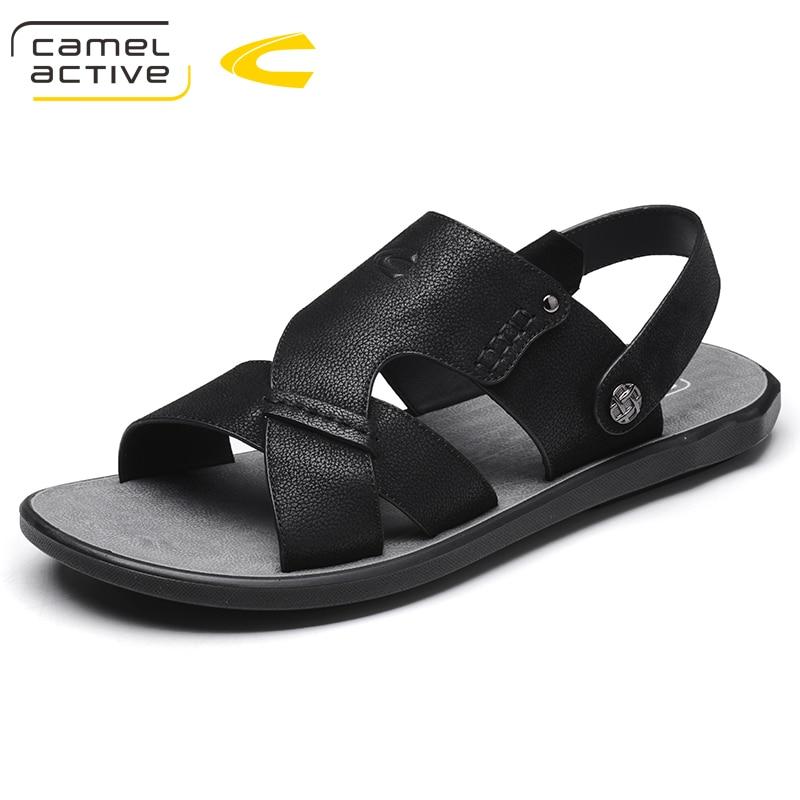 Camel Marca E Couro Size44 Sandálias Tamanho Da Genuíno Preto cinza Sapatos Moda Homens Novo Verão Dos Active De Chinelos Grande rAt6wAqXx
