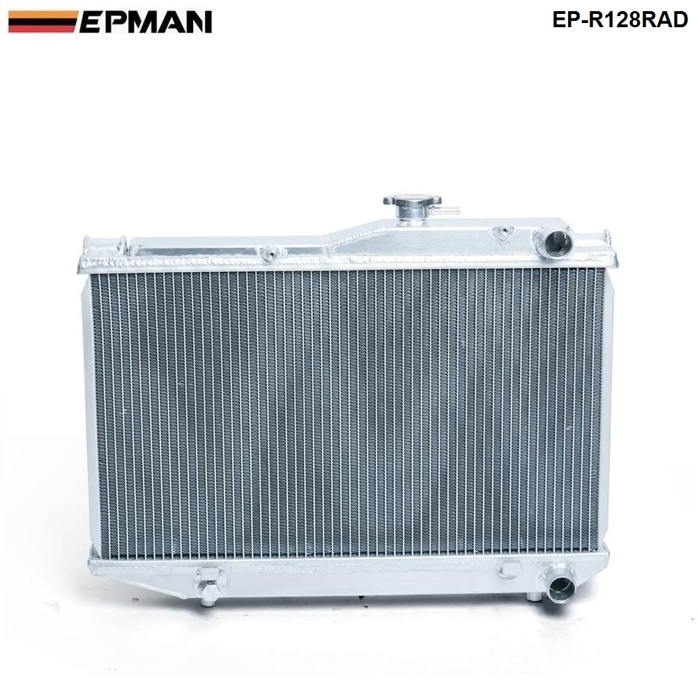 EPMAN -For Toyota Corolla AE86 83-87 MT Aluminum 2 Row Dual Core Aluminum Radiator EP-R128RAD epman universal 2 25 inch 57mm turbo intercooler aluminum pipe silicone hose kit black length 600mm for bmw e60 ep lgtj57 600