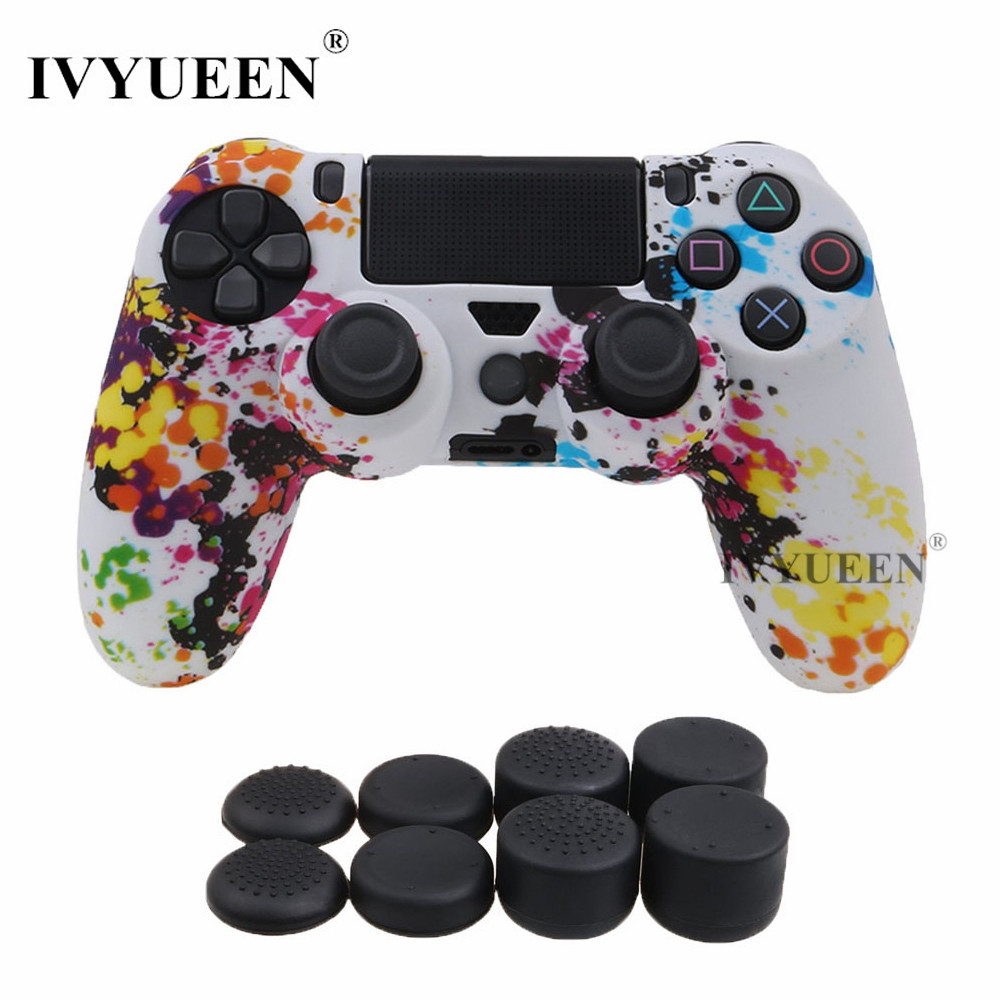 все цены на IVYUEEN Silicone Protective Skin For Playstation 4 PS4 DS4 Pro Slim Controller Case with 8 Analog Sticks Cap Grips Protector онлайн