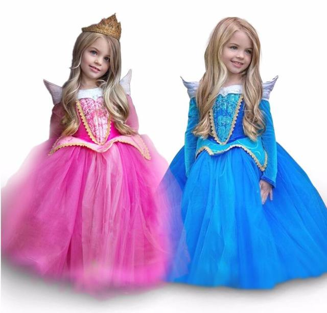 Fairy tales girl Princess Aurora dress Costumes Girls clothes Anna Elsa tutu dress Toddler kids vestidos  sc 1 st  AliExpress.com & Fairy tales girl Princess Aurora dress Costumes Girls clothes Anna ...