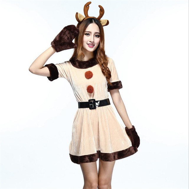 a1bf8d1edf Santa Reindeer Elk Cosplay Costume Girl Lovely Anime Animal Uniform Dress  Set Christmas Party Halloween Costume