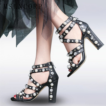 Size 34-43 New Fashion Pearls Crystal Rivet Women Gladiator Sandals Genuine Leather High Heels Sandalia Ankle Buckle Party Shoes