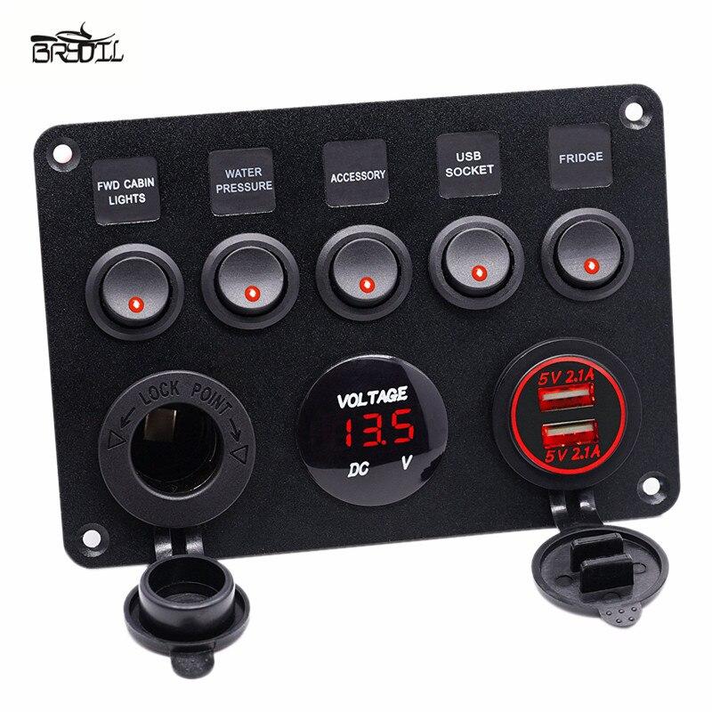 トラックデュアル USB 充電 5 ギャングオン · オフトグルスイッチ制御スイッチパネル赤色 LED 電圧計 12 用 v 24 V 車ボートマリン -
