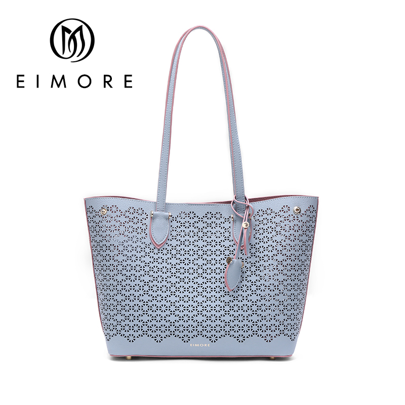 EIMORE Women Handbag Genuine Leather Bucket Bag Female Hollow Out Totes Large Capacity Shoulder Bags Beach Bag Ladies Handbags