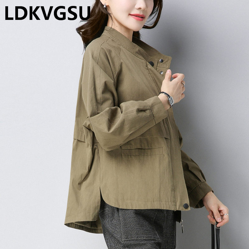 Thin   Trench   Coat Female 2019 Spring Autumn New Loose Large Size Solid Color Stand Collar Wild Women's Short Windbreaker Is1629