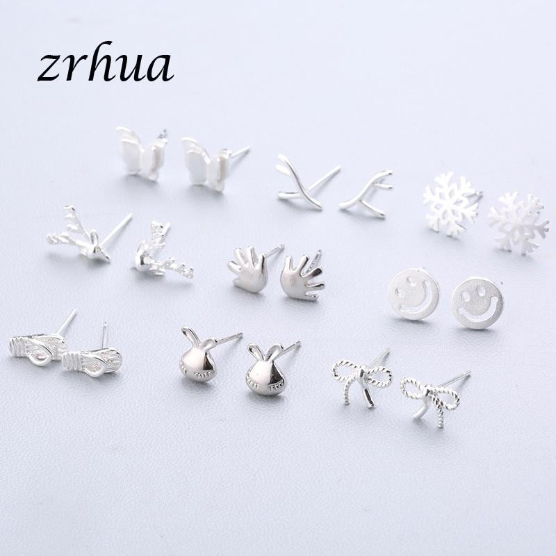 925-Sterling-Silver-Splicing-Cute-Animal-Stud-Earrings-For-Women-Casual-Style-Girl-Earings-Personality-Sterling