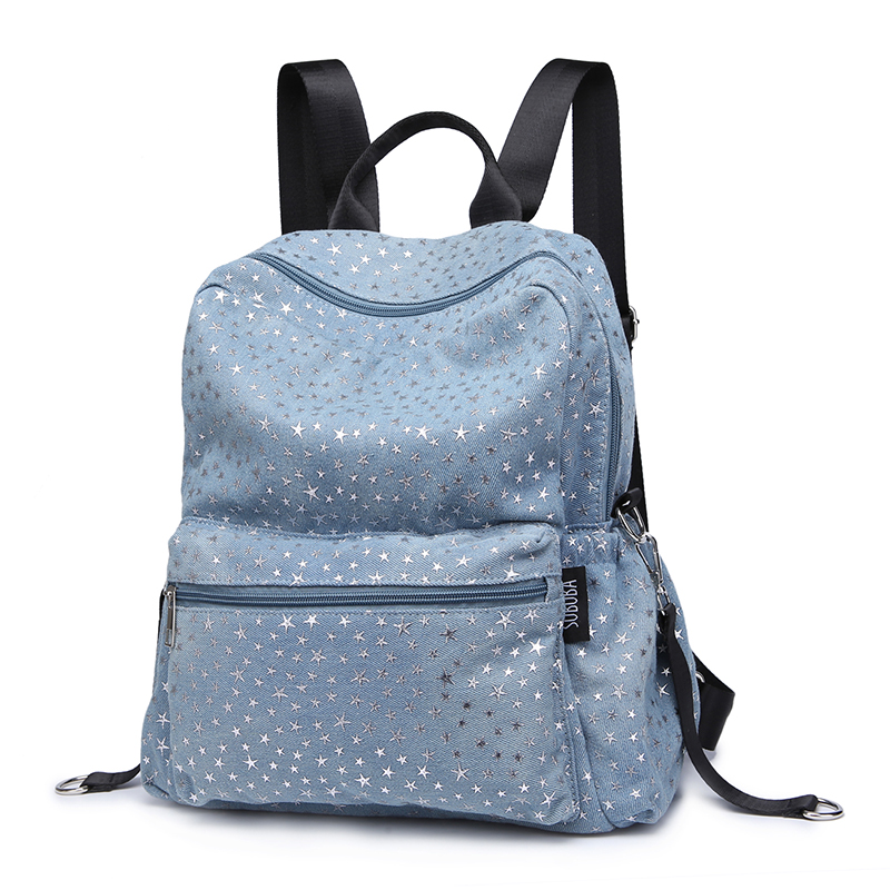 Fashion Women Diaper Bags Stars Pattern Denim Soft Material Baby Changing Bag with 2 Straps Stroller