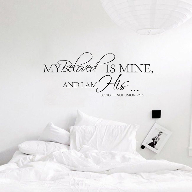 US $11.49 6% OFF|Free shipping Master Bedroom Wall Decal My Beloved is Mine  .. Wall Quote Bedroom Vinyl Wall Decals Wedding Love Romantic-in Wall ...