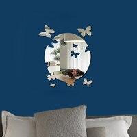 Moderne Spiegel Wandtattoos Aufkleber Acryl Zimmer Großes Neue Schmetterlinge Fliegen Von der Runde Mond Sun Kristall DIY Dekorative