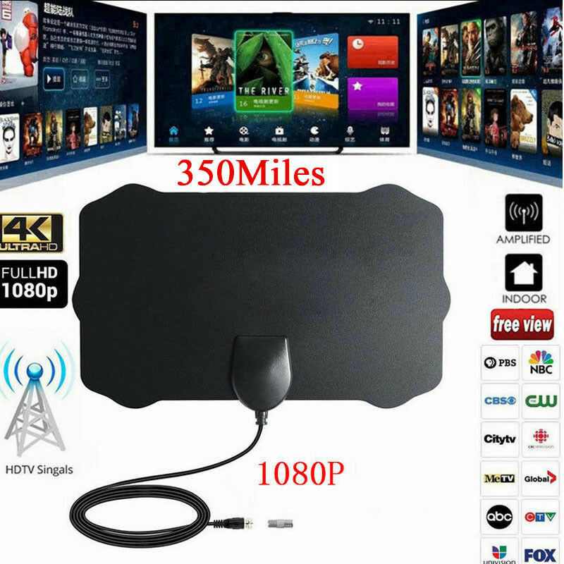 200 Mile Range Indoor Antenna TV Digital HD Skywire HDTV 1080p Sky Link Cable