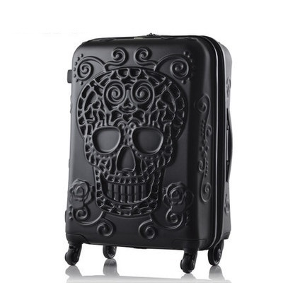 Travel Suitcase with 3D Skull Ornament
