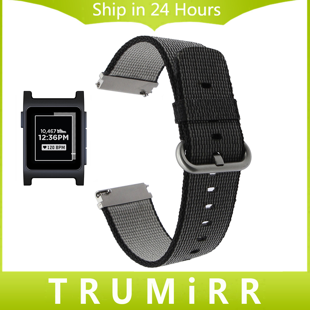 Genuine Nylon Watchband Quick Release Strap for Pebble 2 / 2 SE Replacement Watch Band Fabric Belt Wrist Bracelet Black White 22mm nylon watchband for pebble time steel smart watch band nato army military fabric strap wrist bracelet multi colors tool