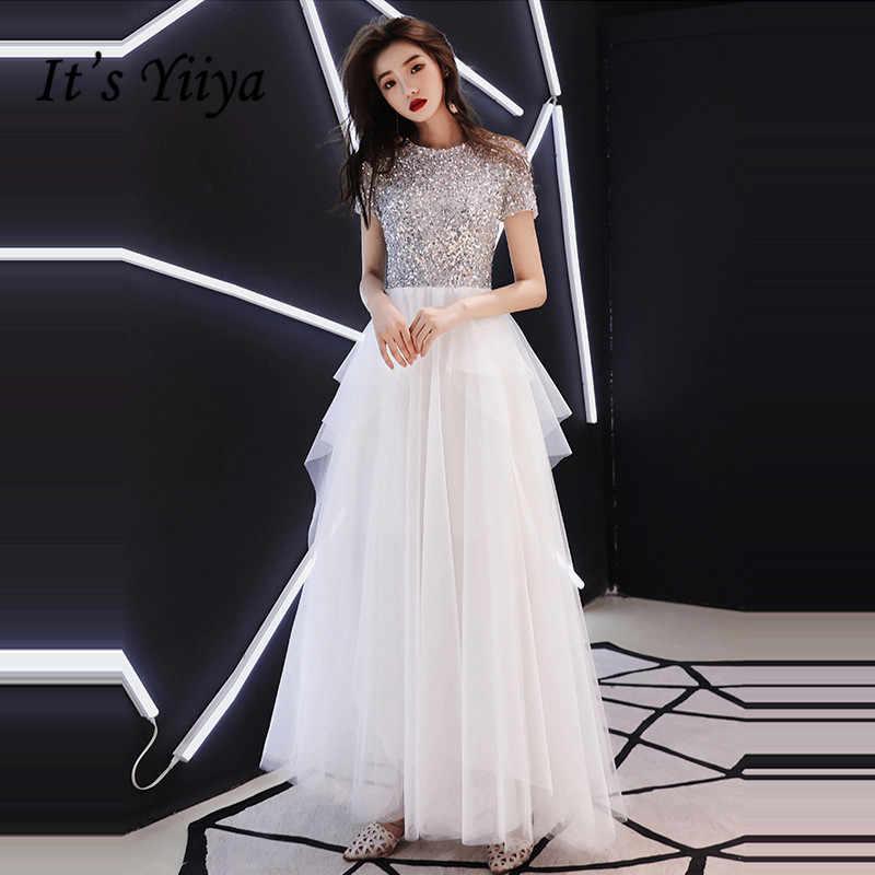 2cbade7a1f8 Это YiiYa вечернее платье 2018 Блестящий блестками o-образным вырезом  многоярусная со складками в Пол