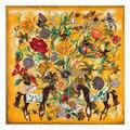 Mandala de seda foulard bufanda naranja verano otoño invierno de mujer de marca bufanda de pashmina imprimir flor mantequilla volar animal caballo bufanda