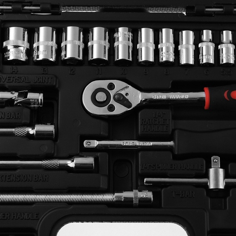 Professional 46pcs Spanner Socket Set 1/4'' Screwdriver Ratchet Wrench Kit Car Repair Hand Tools Combination Bit a Set of Keys
