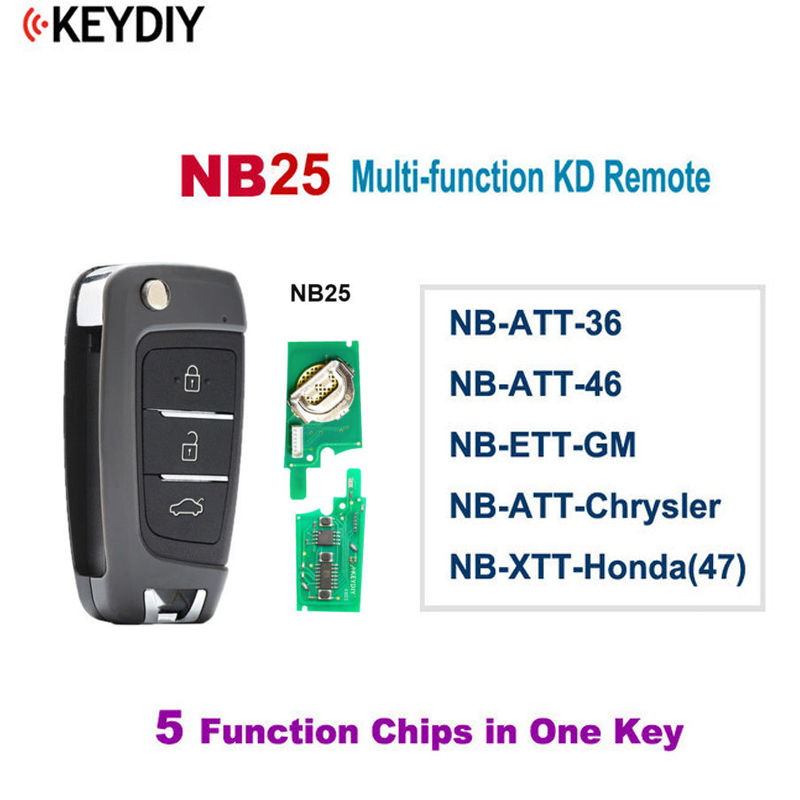 KEYDIY5Pcs NB25 Multi functional 3 Button Universal KD Remote Control for KD900 KD900 URG200 KD X2