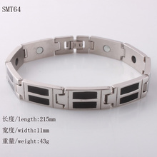 <font><b>Health</b></font> Jewelry Mens Fashion 316l stainless steel bracelet w/ blk enamel bracelet with magnetic Free shipping