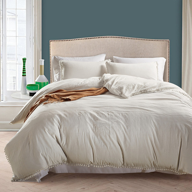 Wliarleo Bedding Set White Soft Duvet Cover With Small Ball Pillowcase England