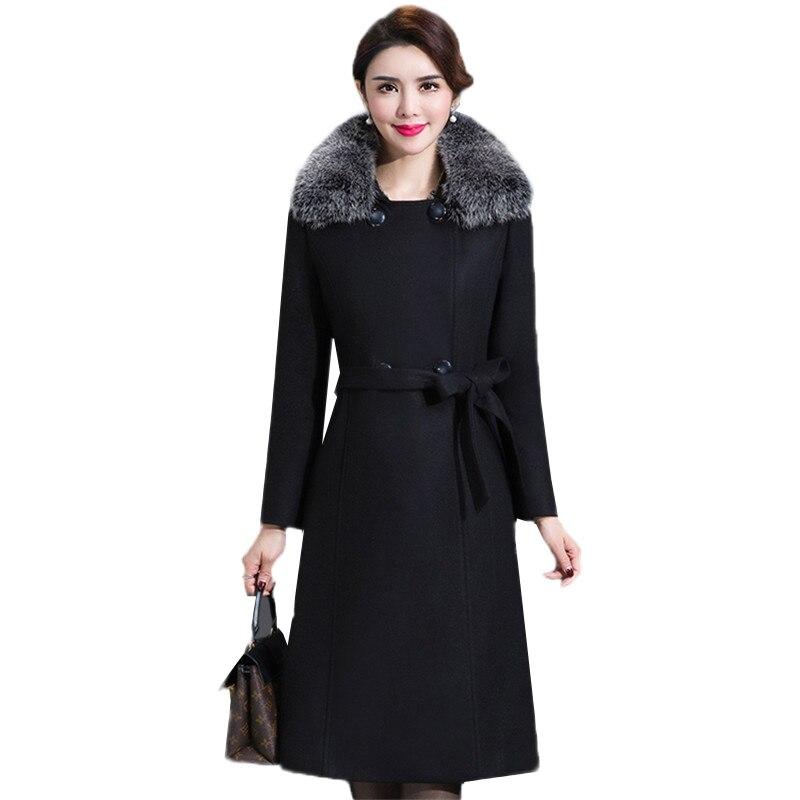 Winter Woolen Coat Autumn Middle-aged Mediun Long Fur Collar Woolen Jacket Large Size Temperament Luxury Ladies Wool Coat DT0098