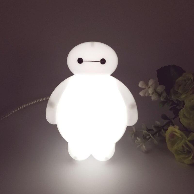 Top Baymax Cartoon night light lamp 110V 220V US plug baby room led energy saving lamp kids light bedside lamp lighting