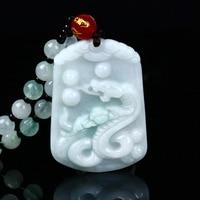 Natural jadeite Chinese zodiac jade pendant Zodiac snake transshipment jade Yu Pei necklace pendant Send a certificate
