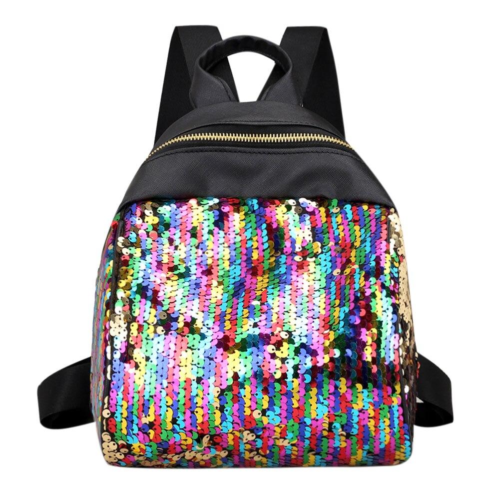 Women Sequins Backpack BlingBling School Bags for Teenage Girls Student Small Travel Bags Ruckack Mochila Mini Backpacks Women