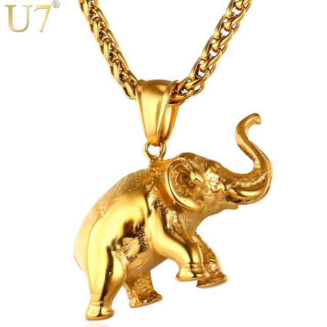 U7 stainless steel gold color elephant necklace trendy men jewelry u7 stainless steel gold color elephant necklace trendy men jewelry charm pendant chain animal lucky aloadofball Images