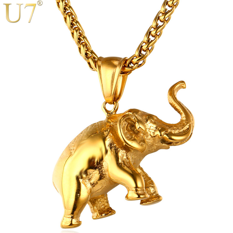 U7 Stainless Steel Gold Color Elephant Necklace Trendy Men