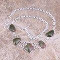 Rare Verde Natural Pedra de 925 Libras Esterlinas Colar de Prata de Alta Qualidade Grau L661