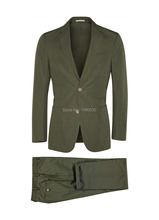 100% cotton army green 2 piece(jacket t+pants) two buttons notch lapel with hand stitching cotton suit