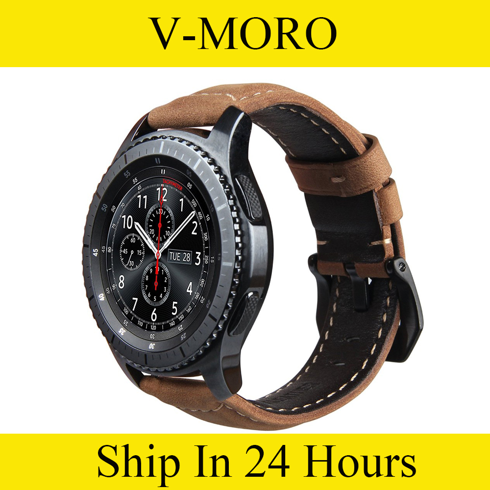 V MORO Genuine Leather Strap For Gear S3 Band Replacement Watch Bracelet For Gear S3 Classic
