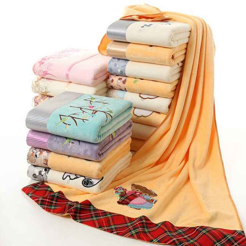 140*70cm High Quality Thicken Multifunction Baby Bath Towel Baby Towel Animal Pattern Velvet Fabric Towel Blanket